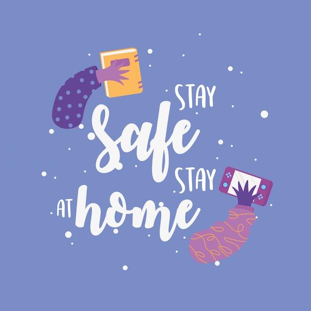 Mensajes de coronavirus, mantenerse a salvo, quedarse en casa, ilustración de prevención