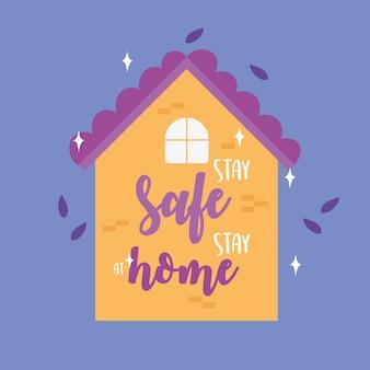 Mensajes de coronavirus, manténgase seguro, permanezca en casa, prevención de letras