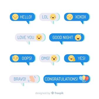 Mensajes con diseño plano emojis