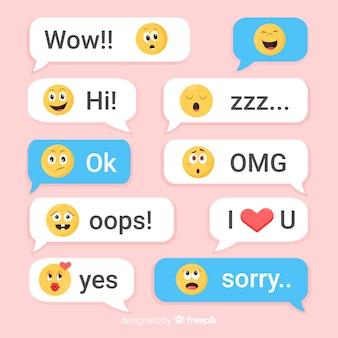 Mensajes de diseño plano con emojis