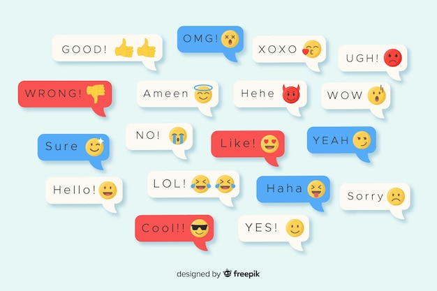 Mensajes de diseño plano multicolor que contienen emojis
