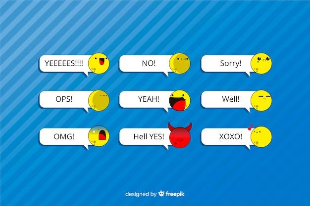 Mensajes con emojis sobre fondo azul