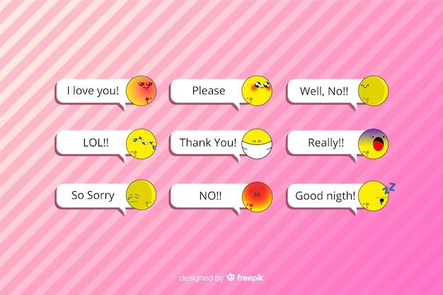 Mensajes con emojis sobre fondo rosa