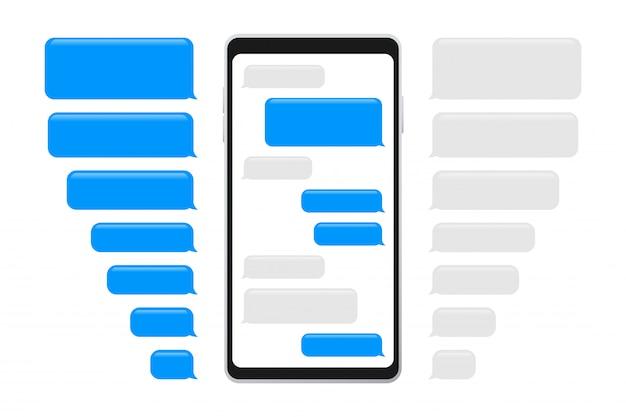 Mensajes planos de burbujas. interfaz de chat. burbujas de mensaje