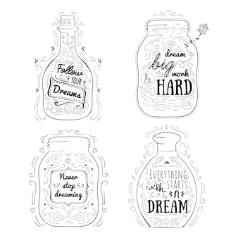 Mensajes positivos en frascos.