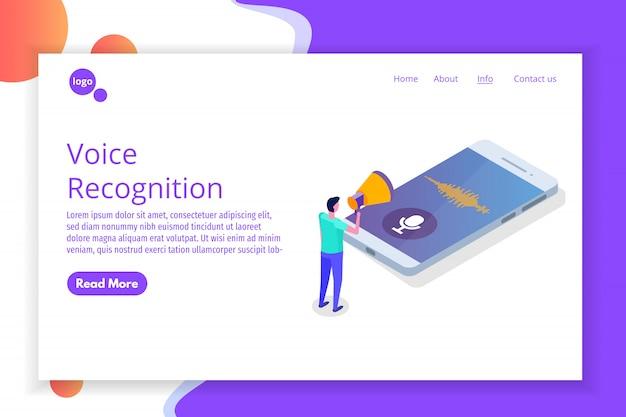 Mensajes de voz, concepto isométrico de reconocimiento de voz con carácter. se puede usar para banner web, plantilla de página de destino, infografía.