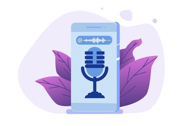 Mensajes de voz, concepto de reconocimiento de voz.
