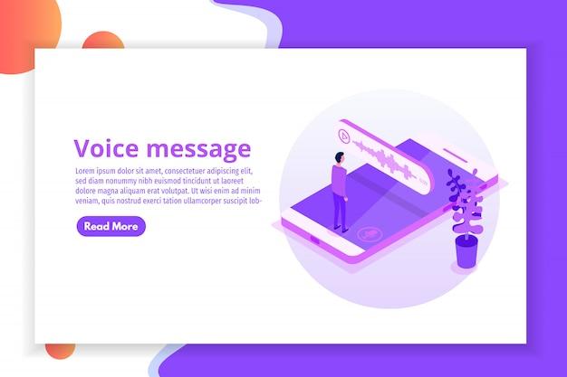 Mensajes de voz isométricos, notificación de eventos. ilustración