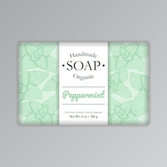 Menta jabón barra plantilla etiqueta ilustración vector embalaje