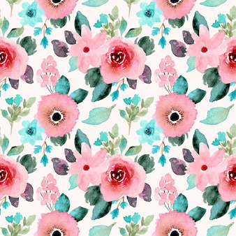 Menta rosa acuarela floral de patrones sin fisuras.