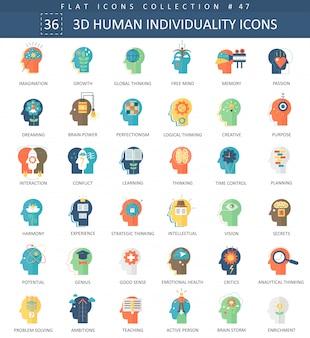 Mentalidad humana personalidad individualidad iconos planos.