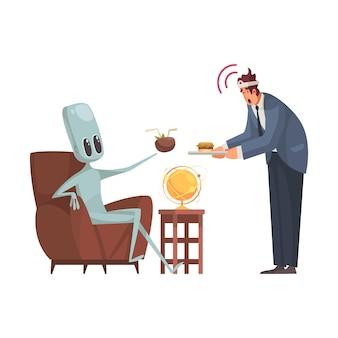 Mente de control alienígena de humanos con bandeja de dibujos animados
