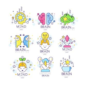 Mente creativa original logo, creación y elementos de idea ilustraciones coloridas