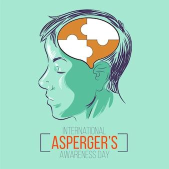 Mente con piezas de rompecabezas día de concientización sobre aspergers