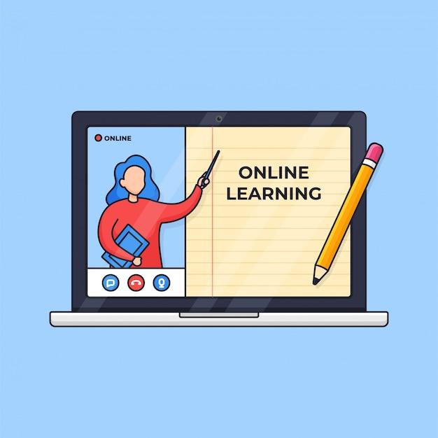 Mentor de ilustración de educación a distancia moderna de aprendizaje en línea que presenta en pantalla con libro de línea de papel digital en computadora portátil
