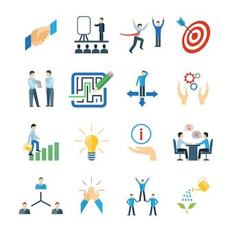 Mentoría y desarrollo de habilidades personales iconos conjunto plana