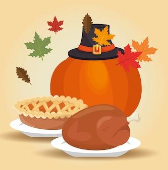 Menú acción de gracias hojas de otoño diseño