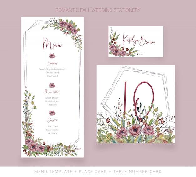 Menú de acuarela para bodas, número de mesa y tarjeta de número