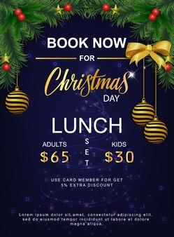 Menú de almuerzo para el día de navidad.