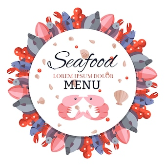 Menú de banner redondo con comida de mar.