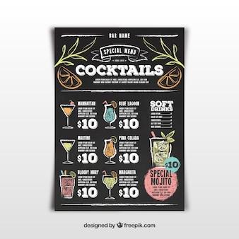 Menú de bar de cócteles en estilo pizarra