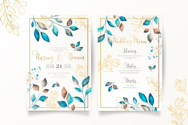 Menú de boda y plantilla de invitación con hojas metálicas