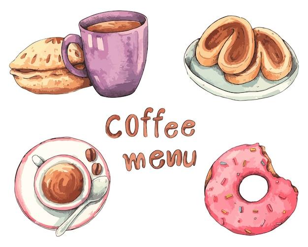 Menú de café acuarela dibujada a mano