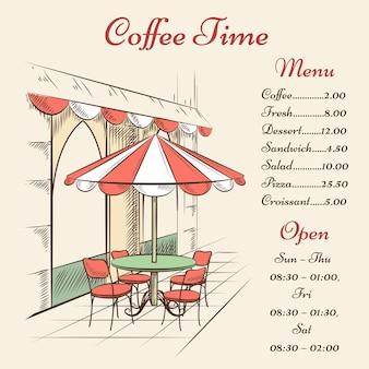 Menú de café callejero dibujado a mano