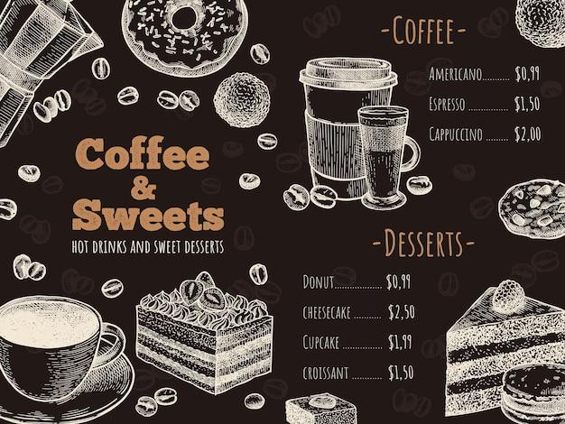 Menú de café. plantilla de diseño de menú de cafetería, bar o cafetería, bebidas calientes, postres y pasteles, boceto ilustración de vector de volante publicitario. donut, tarta de queso y galletas, taza para llevar para café con leche