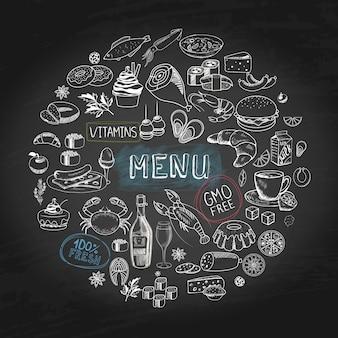 Menú de cafetería dibujado a mano concepto redondo con hamburguesas tortas rosquillas carne mariscos botella de vino taza de té queso rollos de sushi salchicha ilustración de manzana,