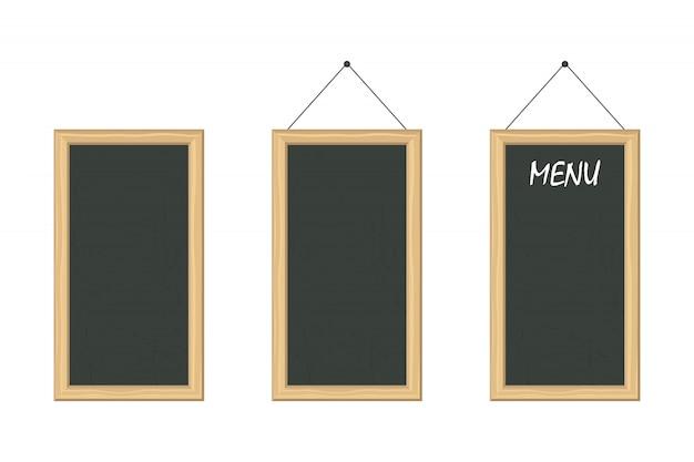 Menú chalckboard con ilustración de marco de madera