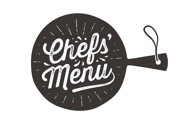 Menú de chefs, tabla de cortar.