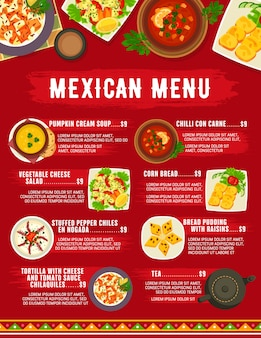Menú de cocina de comida mexicana
