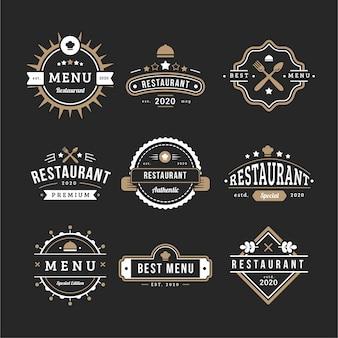 Menú de colección de logo retro de cafetería