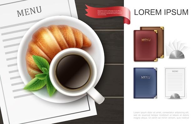 El menú colorido realista cubre el concepto con la taza de café, las hojas de menta, el croissant en la tarjeta del menú del plato y las servilletas con soportes de metal