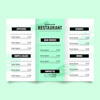Menú colorido restaurante plantilla