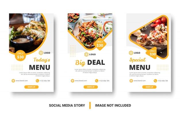Menú de comida banner historia de redes sociales.