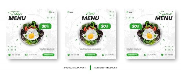 Menú de comida banner publicación en redes sociales.