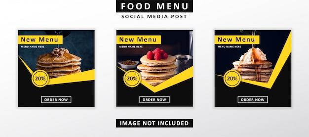 Menú de comida banner publicación en redes sociales