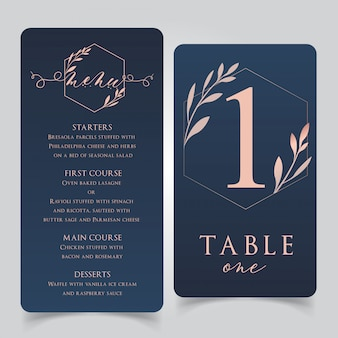 Menú de comida para bodas en azul marino y oro rosa con números de mesa
