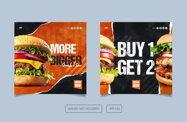 Menú de comida burger instagram y plantilla de banner y publicación de facebook