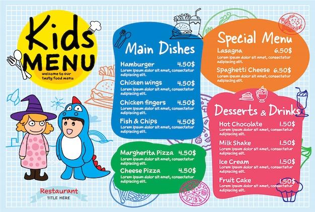 Menú de comida colorida para niños