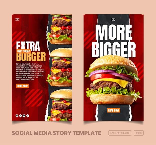 Menú de comida y deliciosa plantilla de banner e historia de instagram y facebook