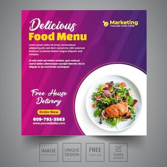Menú de comida diseño de banner social