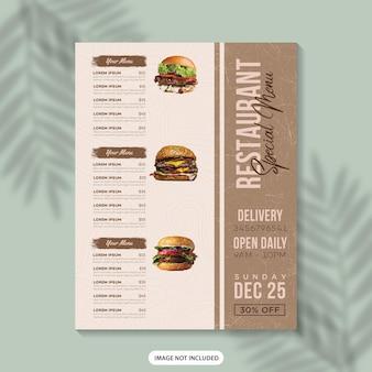Menú de comida diseño de plantilla de volante menú de restaurante cartel de menú de comida plantilla de diseño de menú de menú de comida rápida