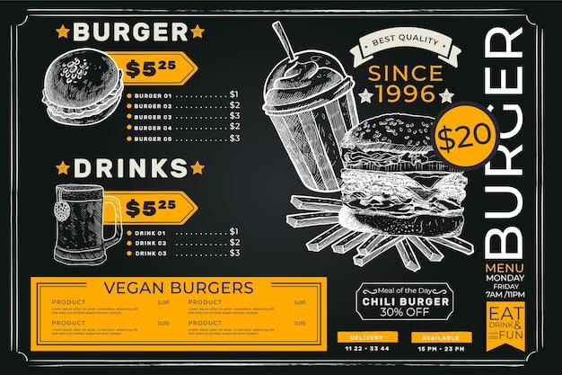 Menú de comida de hamburguesa premium oscura simple
