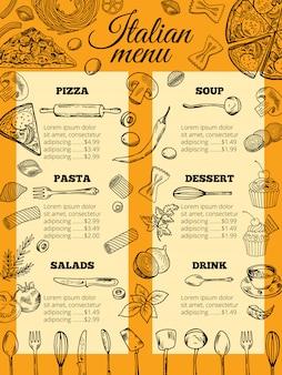 Menú de comida italiana de diferentes pastas y pizzas.