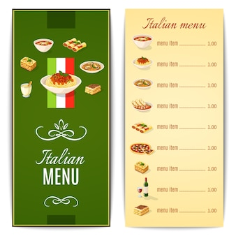 Menú de comida italiana