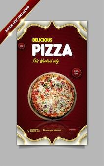 Menú de comida de lujo deliciosa pizza plantilla de historia de facebook de instagram
