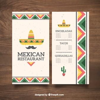 Menú de comida mexicana de sombrero mexicano y bigote plano